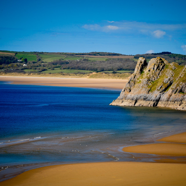 """Three cliffs bay"" stock image"