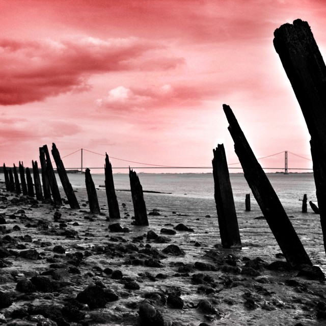 """""""Red Sky over the Humber"""" stock image"""
