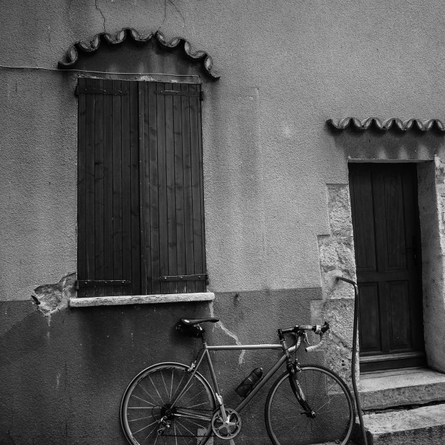 """""""Bicycle and House"""" stock image"""