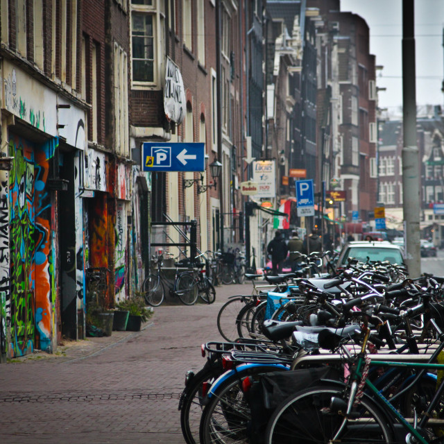 """Bicycles in Amsterdam"" stock image"