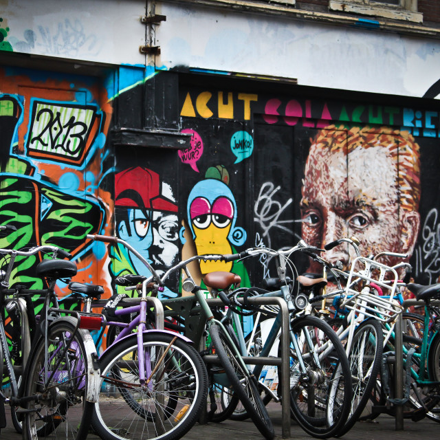 """""""Graffiti and bicycles in Amsterdam"""" stock image"""