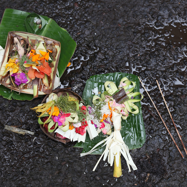"""""""Balinese offering baskets"""" stock image"""