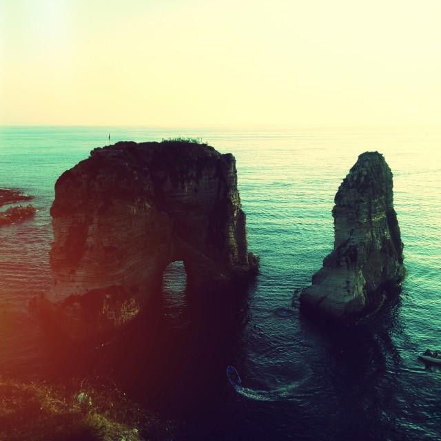"""""""Pigeon Rocks, Beirut"""" stock image"""