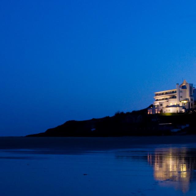 """Burgh Island Hotel at Twilight"" stock image"