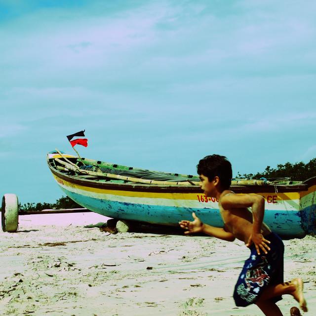 """""""Beach Boy, Jericoacoara, Brazil"""" stock image"""