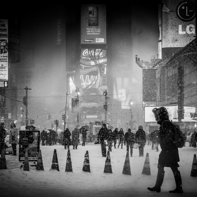 """""""Battling the Snow NYC"""" stock image"""