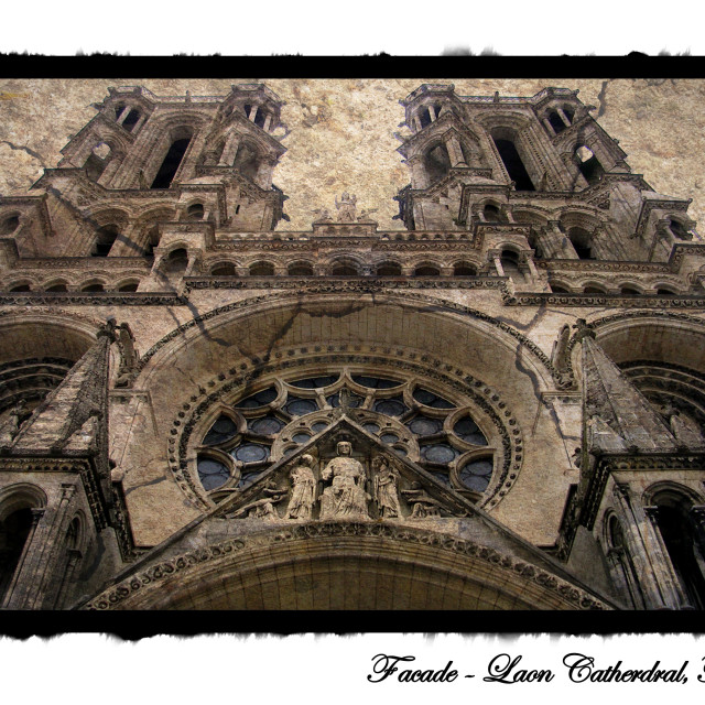 """Facade, Laon Cathedral, France"" stock image"
