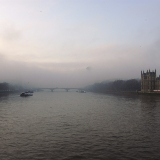 """Fog Rolling Down The River Thames"" stock image"
