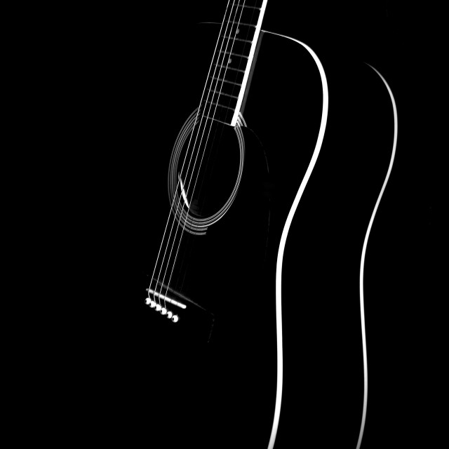 """Black and White Guitar"" stock image"
