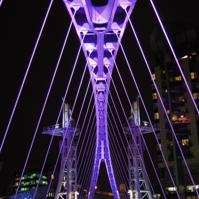 """The Millennium Footbridge - PURPLE"" stock image"