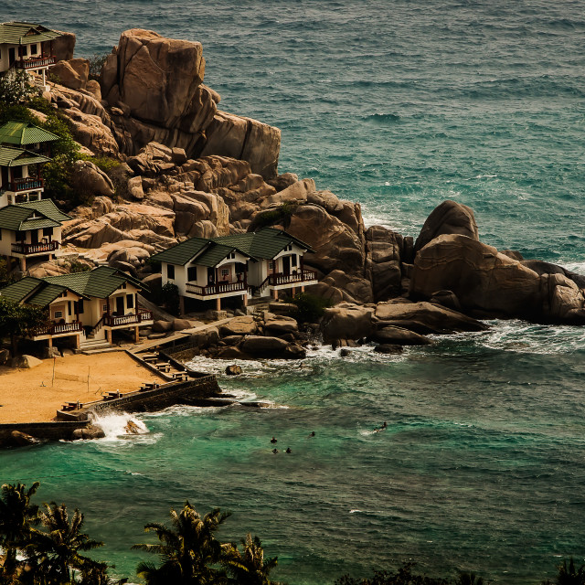 """""""Bungalows on the cliff"""" stock image"""