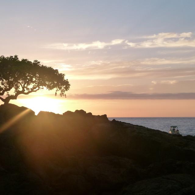 """Big Island sunset, Hawaii"" stock image"