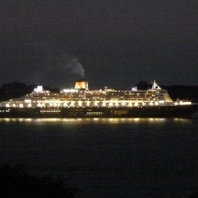 """""""Queen Mary 2 in Bay of Islands, New Zealand"""" stock image"""