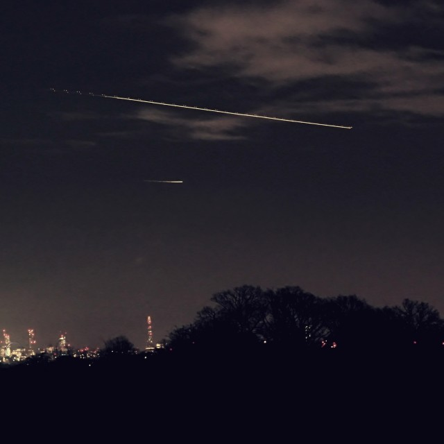 """Shooting Star over London?"" stock image"