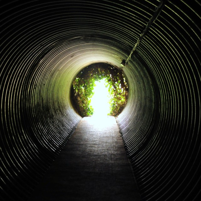 """Light at the end of the tunnel"" stock image"