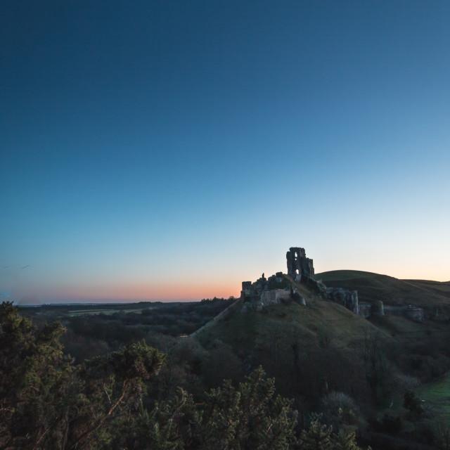 """""""Pre-dawn at Corfe Castle, Dorset"""" stock image"""