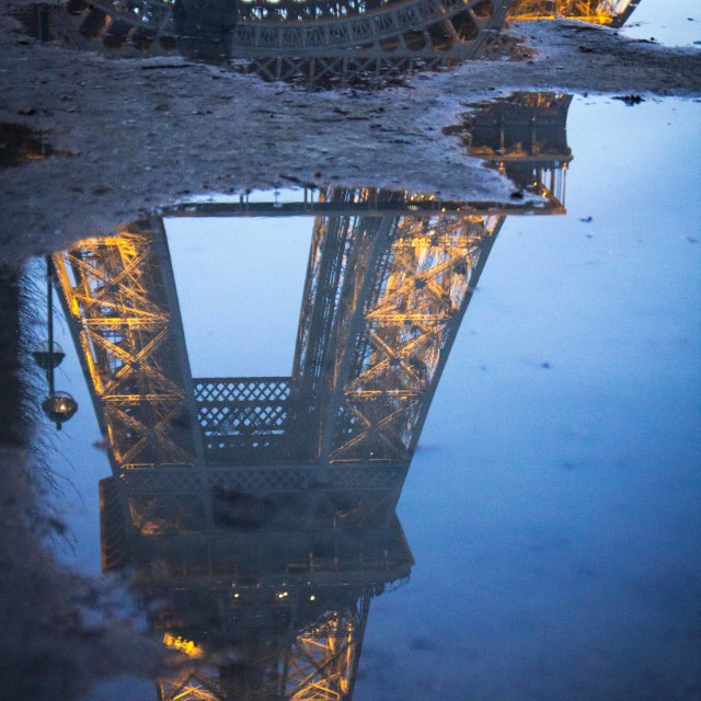 """The Eiffel Tower reflected"" stock image"