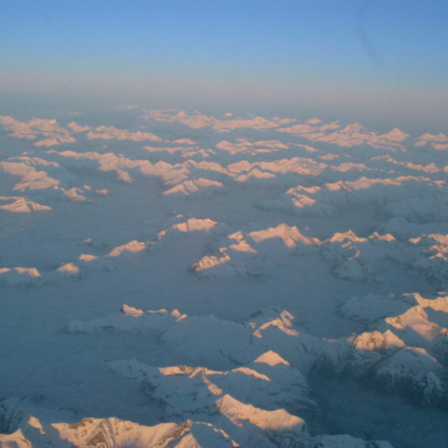 """Alps at 37,000 Feet"" stock image"