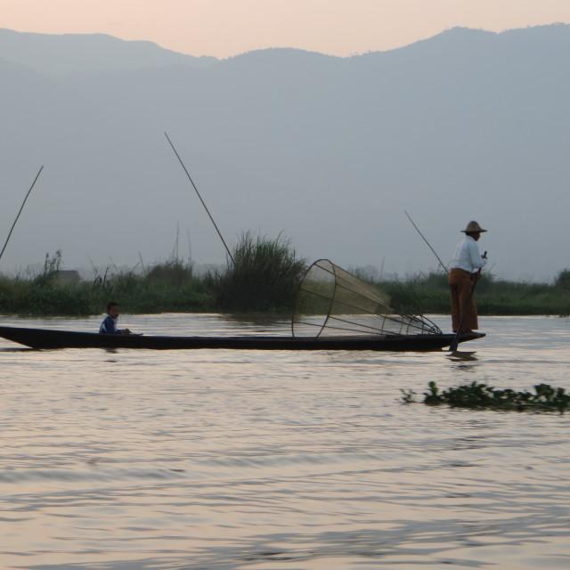 """""""Inle Lake fishermen"""" stock image"""