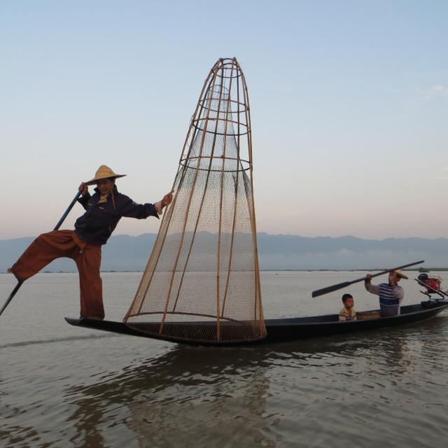 """""""Inle Lake leg rower fishermen"""" stock image"""