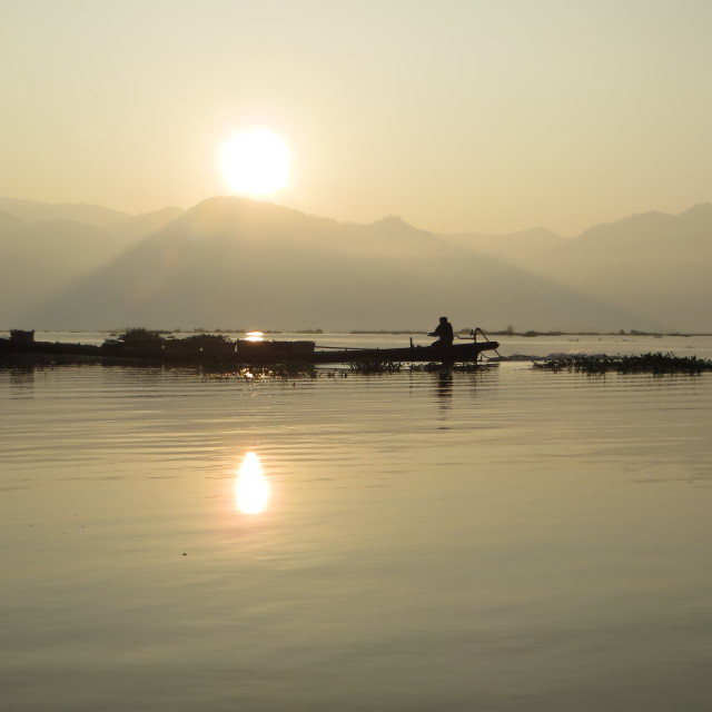"""""""Inle Lake sunrise"""" stock image"""