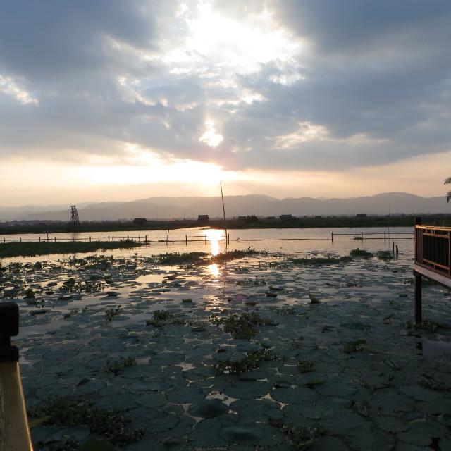 """Inle Lake sunset"" stock image"