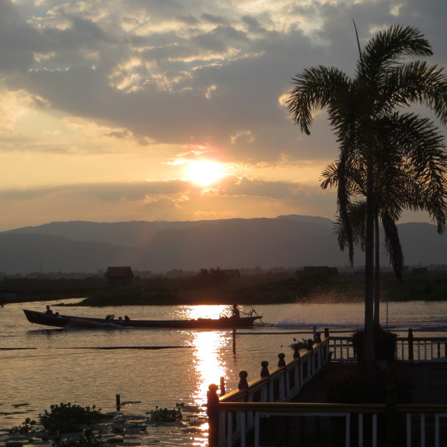 """Inle lake sunset too"" stock image"
