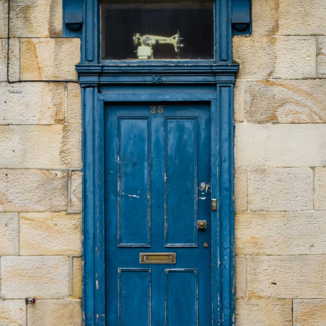 """Old blue door"" stock image"
