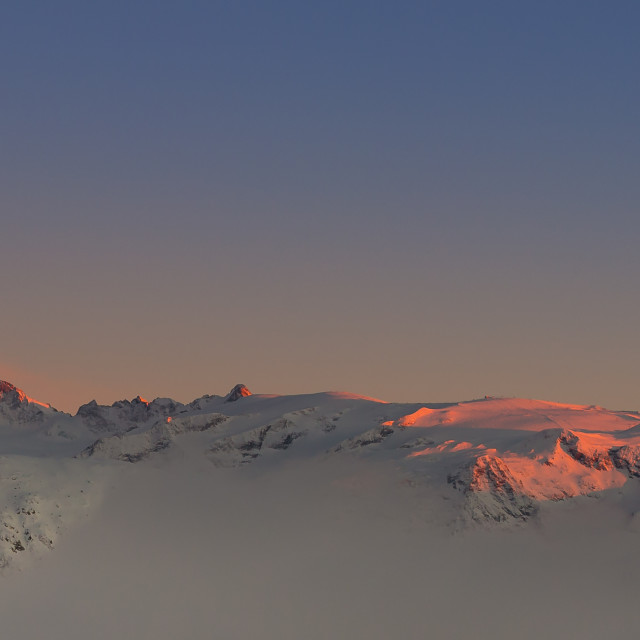 """""""Sunset in Alpe D'Huez"""" stock image"""