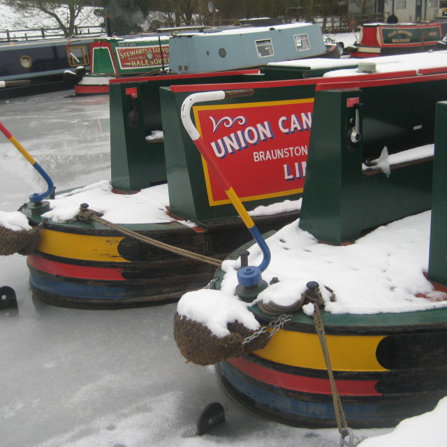 """Winter Canal boats"" stock image"