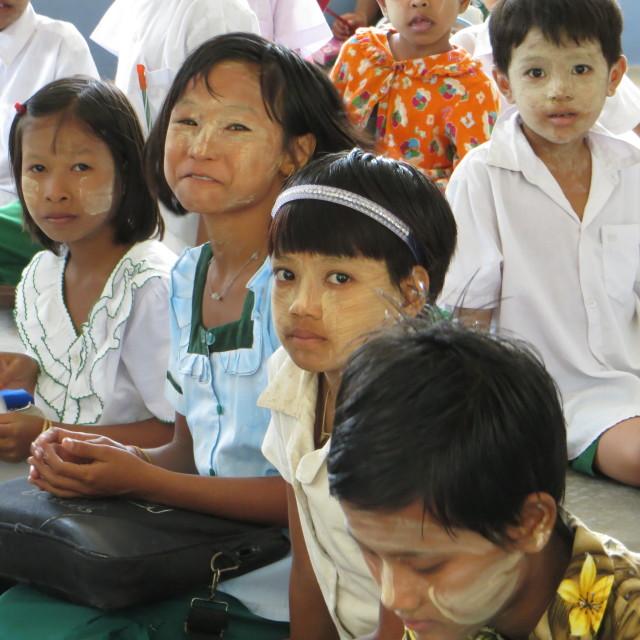 """Shwebo, (Burma/Myanmar), school children, Burma"" stock image"