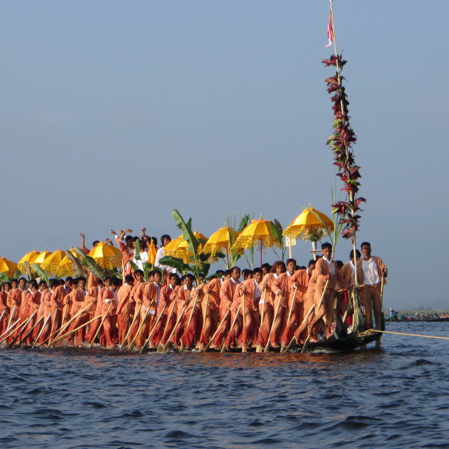 """More Inle Lake leg rowers at the Bhudda procession"" stock image"