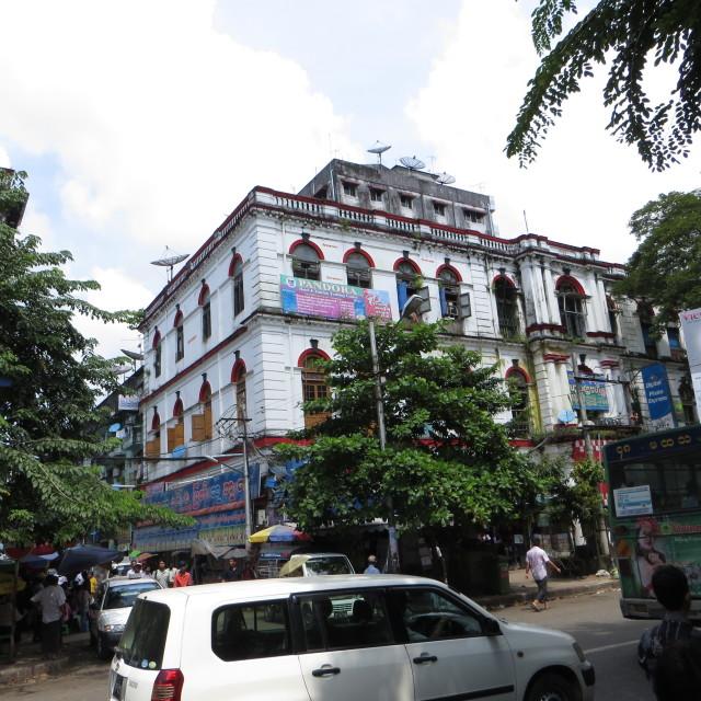 """Colonial building in Rangoon/Yangon, Burma"" stock image"