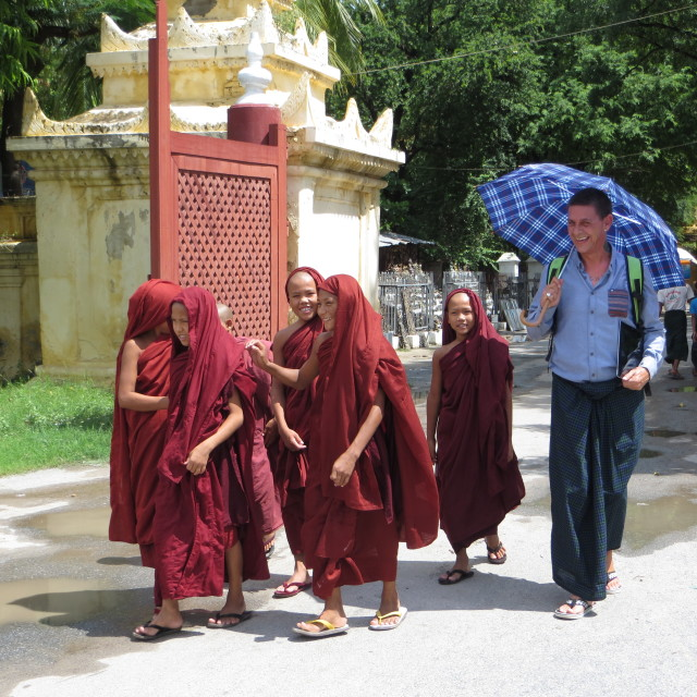 """""""Young monks outside Shwe Nan Daw monastery, a wooden monastery in Mandalay"""" stock image"""