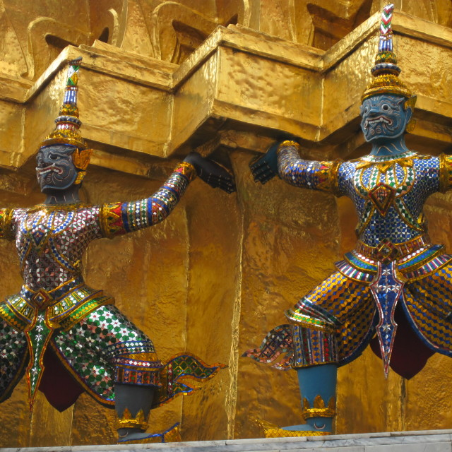 """Dancing statues at Grand Palace"" stock image"