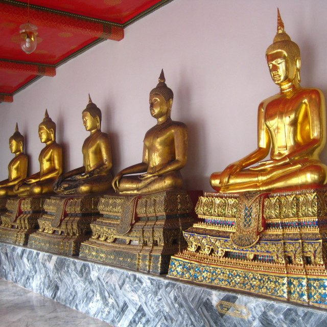 """A row of buddhas at Wat Pho"" stock image"