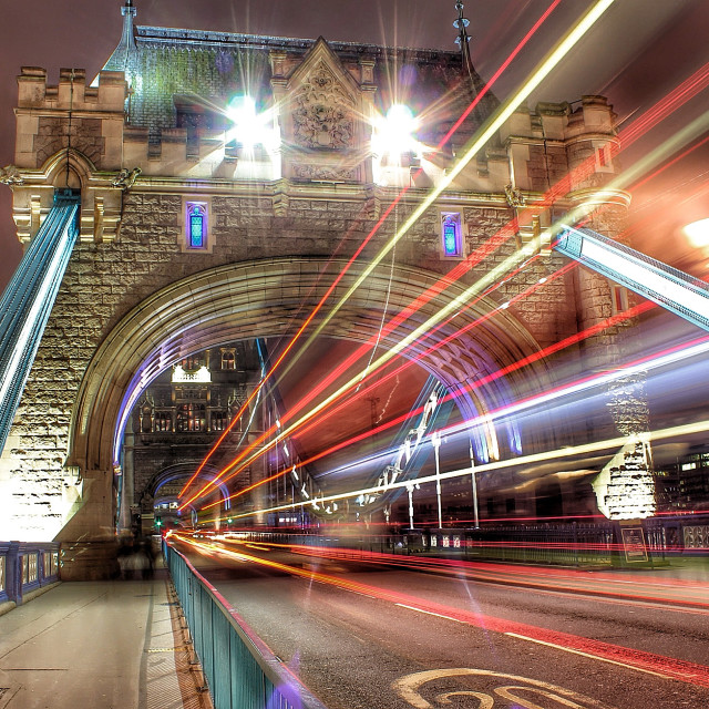 """""""Tower Bridge rush hour"""" stock image"""