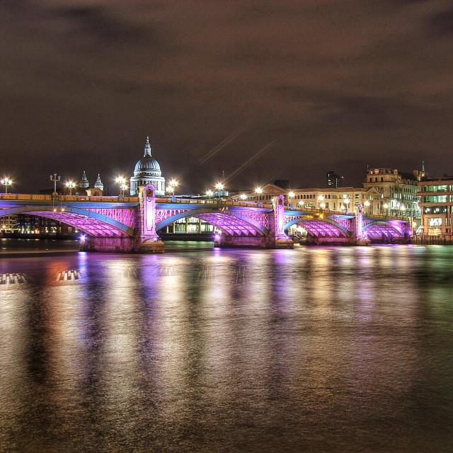 """St Paul's and Southwark Bridge"" stock image"