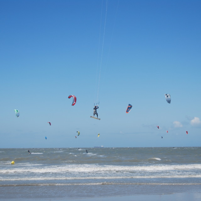"""Kite-surfing Belgium"" stock image"