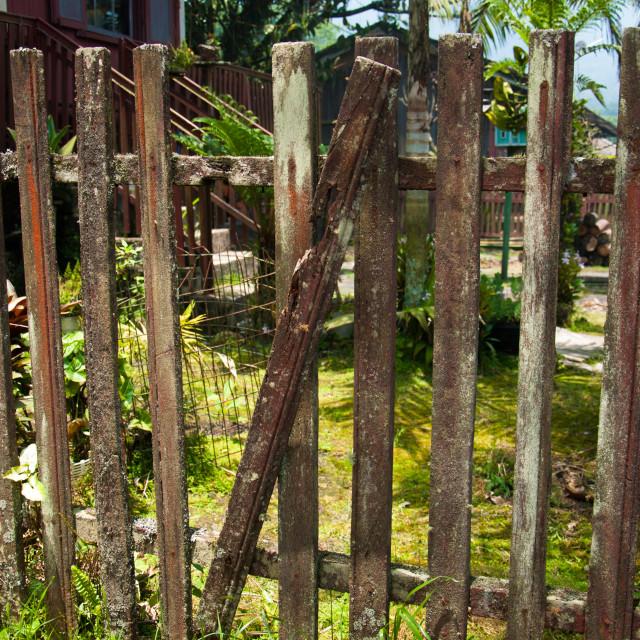 """Broken fence"" stock image"