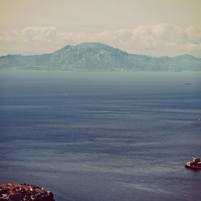 """View of Morocco from Gibraltar"" stock image"