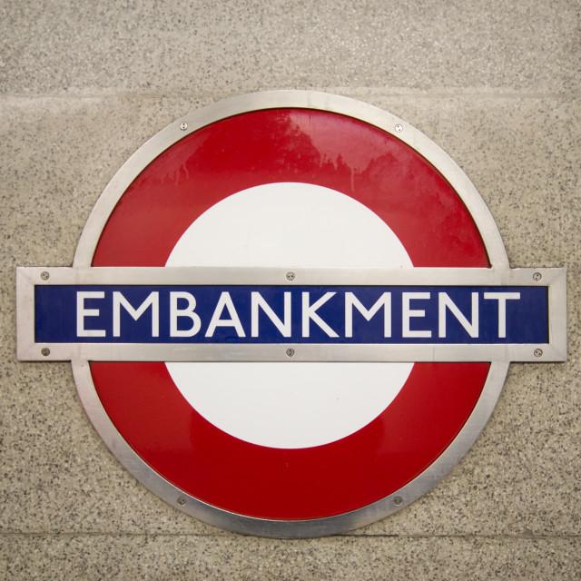 """Embankment Tube Sign"" stock image"