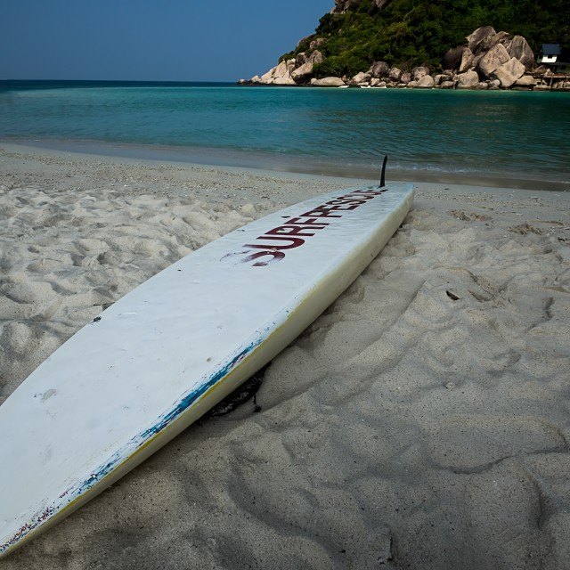 """""""Surf board on the beach"""" stock image"""