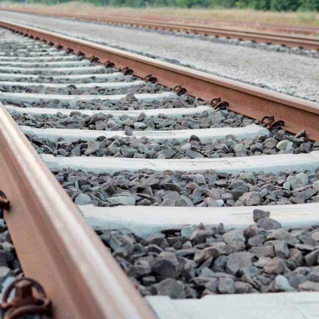 """Railway Tracks Close-up"" stock image"