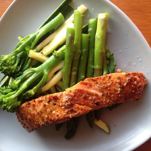 """Healthy salmon dinner"" stock image"