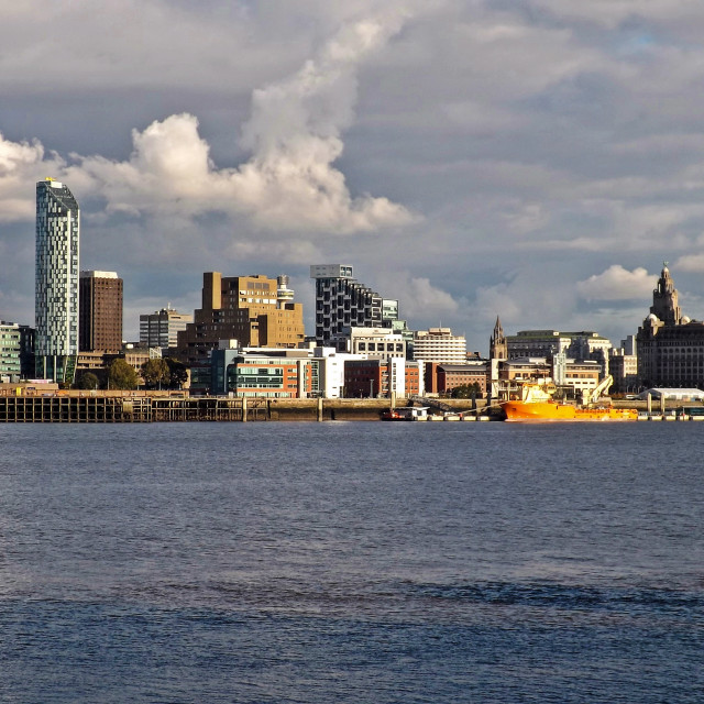 """The skyline of Liverpool across the River Mersey"" stock image"