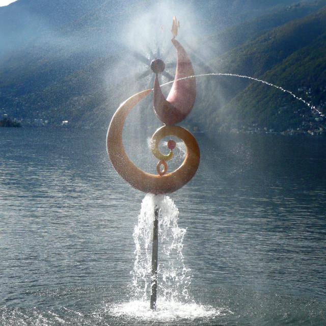 """Fountain on the Lake, Ascona, Switzerland"" stock image"