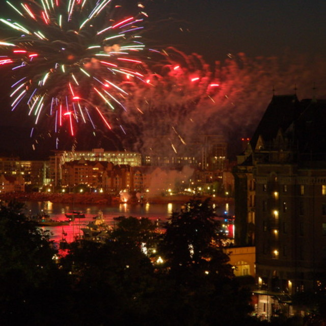 """Fireworks on Victoria Island"" stock image"