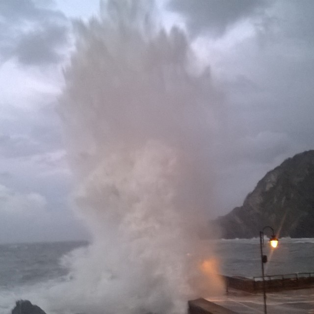"""Giant wave in Ilfracombe"" stock image"