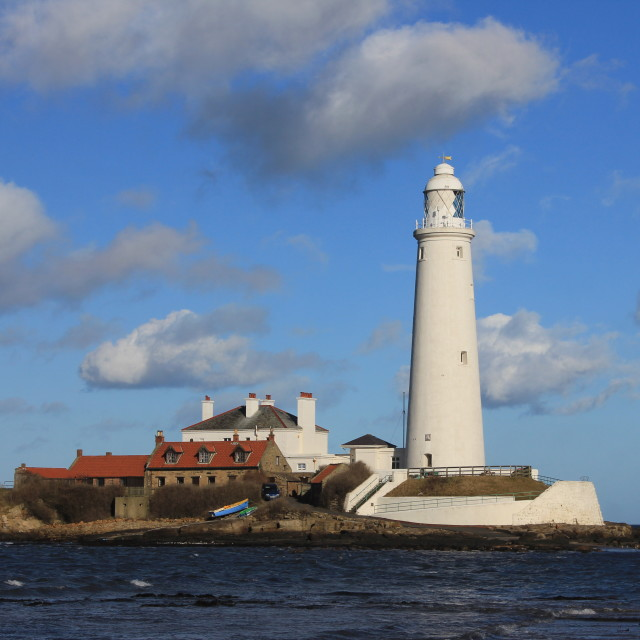 """""""St Mary's Island and Lighthouse"""" stock image"""